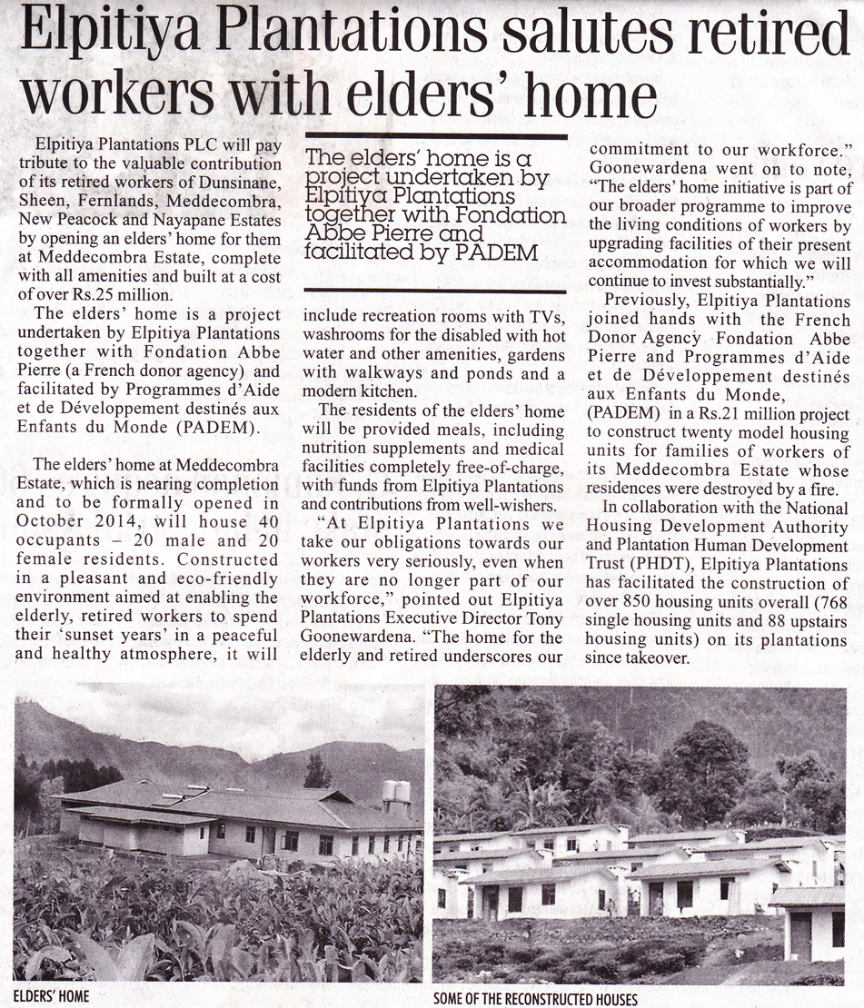 Sri Lanka PADEM Maison de Retraite Plantations